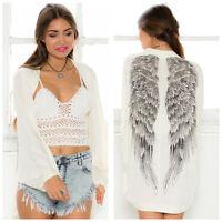 Fashionable Blouse ladies's  Long Sleeve Angel Wings Coat Cardigan Tops White