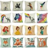 """18"""" Cartoon Animal Throw Pillow Case Cotton linen Sofa Cushion Cover Home Decor"""