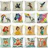 """18"""" Cotton linen Cartoon Animal Throw Pillow Case Sofa Cushion Cover Home Decor"""