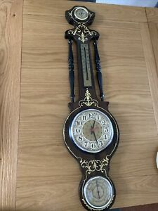 Large Decorative Fronted Barometer, Thermometer, Hygrometer And Clock Wooden Dis