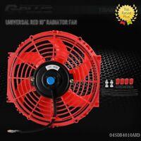 """10"""" Universal Slim Pull Push Racing Radiator Engine Cooling Fan Mounting Kit Red"""