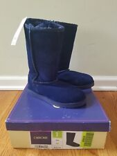 NWT Girls CHEROKEE Tessa Navy Blue Suede Fur Lined Winter Snow Boots Size 1