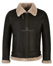Men's B3 Sheepskin Jacket Beige Fur Real Shearling RAF WW2 Boimber Jacket NV-65