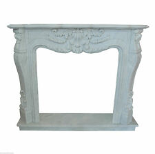 Camino Stile Luigi XVI Marmo Bianco Classic Stone White Carrara Marble Fireplace