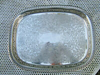Old Antique Edwardian Large Silver Plate Sheffield Made Butlers Size Tray c1910