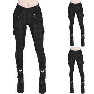 UK Women Steampunk Gothic Plaid High Waist Retro Pants Ladies Leggings Trousers