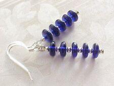 Cobalt Blue Sapphire Glass Czech Bead Earrings Space Age Disc Stack Minimalist