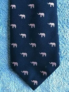 """8"" by HERRINGBONE Quality Neck Tie Italy made 100% Silk, Blue, Pink Elephants"