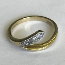 Vintage Solid 9ct Gold Four Stone Diamond Snake Style Dress A&Co Ring Size K1/2