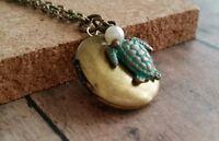 turtle locket necklace, brass, patina, aqua, small, bronze