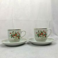 Avon Strawberry Porcelain Demi-Cup With 22K Gold Trim Candlette Set Of 2-1978New
