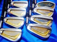 8PC BEAUTIFUL GOLD MARUMAN TITUS X-2 R-FLEX IRONS SET GOLF CLUBS 10108 MAJESTY
