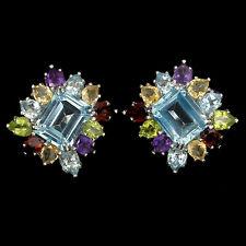Plata esterlina 925 Cielo Azul Topacio & Arco iris Piedras preciosas Multigem Aretes