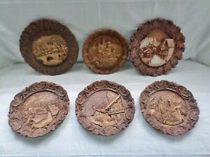 Vintage Ornate German Black Forest Style Scenic Plates set of 6