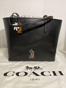 Coach x Disney Mickey Mouse Motif Black City Leather Zip Tote Shoulder Bag NWT!