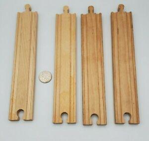 """BRIO Wooden Railway Train 8"""" Straight Track Lot x4 - works with Thomas & Friends"""