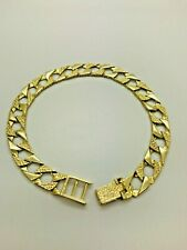 9ct Yellow Solid Gold Square Curb Chaps Bracelet - 8 ½""