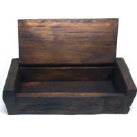 "6.75"" small wooden Trinket storage jewelry vintage lid box ring organizer tool"
