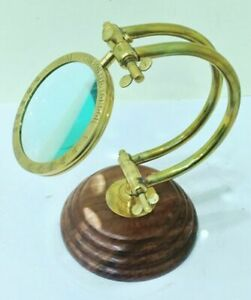 Vintage Nautical Brass Magnifying Glass Antique Wooden Base Decor Magnifier
