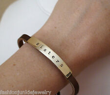 Sisters Bracelet - Adjustable Leather Strap - Sisters Friends Love Family NEW