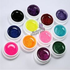 12 Color Glitter UV Builder Gel Kit  for Nail Art False French Tips Salon Tools