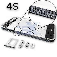 Crystal/Diamond Silver Midframe Mid Frame Bezel Chassis For iPhone 4S/4GS Sty 1S