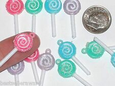 6pc Miniature dollhouse Christmas Lollipops candy sweets charms findings beads