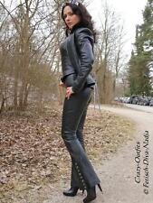 Lederhose Leder Hose Schwarz Schlaghose Knöpfe Maßanfertigung
