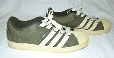 Rare Adidas Hemp Olive Green with Cream Stripes & Soles Mens Athletic Sneakers