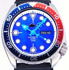 Vintage mens Seiko diver 6309 FISH-BONE mod w/BLUE Mother of Pearl dial & Bezel!
