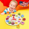 Kids Wooden Clock Shape Sorting Educational Puzzle Blocks Toddler Toy set