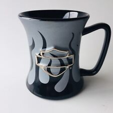 Harley Davidson Coffee Mug - Silver / Grey with Black Flames and Shield