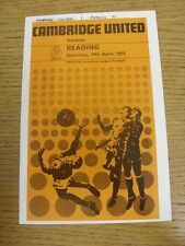 14/04/1973 Cambridge United V lettura (Piccolo Ritaglio corrispondenza Stuch all'interno & scor