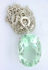 "14 Carat 18x13 Oval Mint Green Fluorite Gemstone Gem Sterling Pendant 18"" Chain"