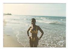 Vintage Photo Pretty Young Woman Bathing Suit African American 1980's Mar17