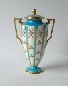 ANTIQUE MINTONS URN, SMALL TWO HANDLED LIDDED, FOOTED VASE. HAND PAINTED ROSES.