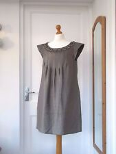 NEXT SIGNATURE SILVER GREY BEADED TUNIC DRESS SIZE 12