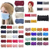 Women Knitting Woolen Headband Warmer Ear Cross Head Wrap Wide Hair Band Turban.