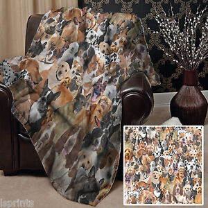 Large Warm Sofa Fleece Throw Dogs All Over Design Blanket Great Gift Idea