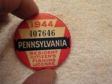 Vintage 1944 Pa Pennsylvania Resident Fishing License Button Pin #407646