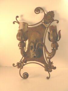 Antique Wrought Iron Tin Sconce 1920s Estate Spectacular!