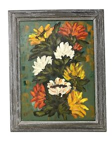 Vintage FLORAL Flowers Oil PAINTING Thick IMPASTO Mid Century Framed Signed