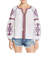 Beltaine Women's Embroidered Peasant Top, White, X-Small      MSRP:$158.00