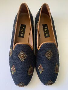 Vintage Zalo Navy Dark Blue needlework embroidered shoes loafers Size 9M