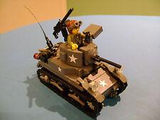 LEGO LOT #64 CUSTOM WW2 WORLD WAR 2 US USA STUART M3A1 TANK WITH MINI FIGURE MG