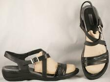 Women's ECCO Black Leather Wedge Sandals EUR 41 US 10-10.5