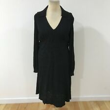GHOST Black Embroidered Shirt Dress Midi Long Occasion Smart Size UK 16 7665