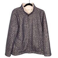 LL Bean Women's Fleece Lined Zip Up Knit Jacket Large Petite