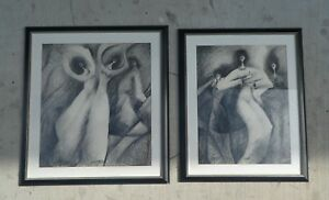 2 CONTEMPORARY DRAWING OF VOLUPTUOUS WOMAN WITH SMALL HEADS BY MYSTERY ARTIST