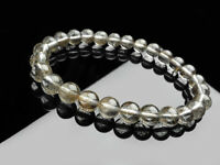 100% Natural Silver Rutilated Quartz Crystal Woman Beads Bracelet 7mm AAAA